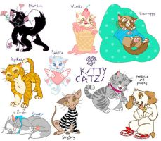 Kitty cats plus puppy by LAUBoZ