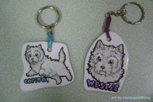 Westie Keychains by HowlingWolfSong