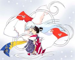 Kagura x Sesshomaru Windy Kiss by ha-chan