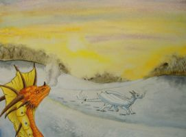 Two Dragons in the Snow by Psydrache