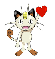 Meowth holding a heart. by ArcticFox223