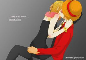 LUffy x Nami: Strong World by faramitha