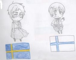 Chibi Sweden and his chibi wife by ValentinaAmai