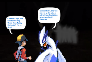 Gold and Lugia in Slendertubbies Forest by DarkraDx