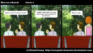 Men on a Bench - Chicks 2 by Renegade-Hamster