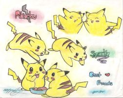 Sparky and Pikachu Collab by pochama1212