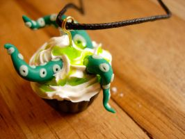 Tentacle Cupcake Necklace by Bee-Delicious