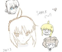 Saber Sketches by LionFear