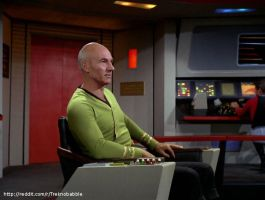 Picard in TOS uniform by deadfraggle