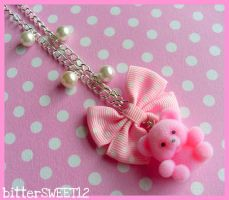 Velvet Teddy Bear Necklace by bitterSWEETones