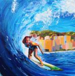 Wahine ride the wave by Nidej