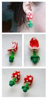 Piranha Plant Earrings by ButtonxMushroom