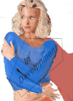 80s pinup Jo Guest as Supergirl - WIP by ElrondKane