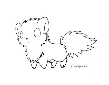 Free Chibi Wolf Lineart by CeruleanInquisition