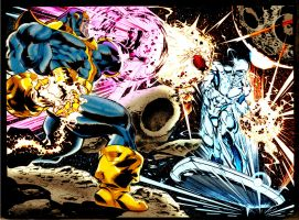 thanos vs silver surfer by claudio castellini by namorsubmariner