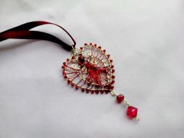 Heart pendant silver wire by Mirtus63