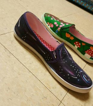 Customised Shoes, Blue Right Side View by CaelansFolly1992