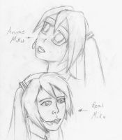 Miku Sketch Anime and Real by GamerERaid