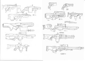Futuristic weapons sketchs by Rafafa