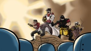 TF2: Joe's 2nd commission, 'Over our dead bodies' by Nicolas-SW
