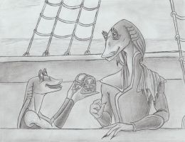Jar Jar and his father George R. Binks by Remthedeathgoddess