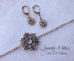 Snowflake Frozen Inspired Bracelet and Earrings by ArteDiAmore
