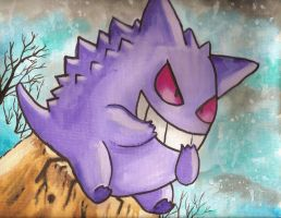 Gengar pokemon watercolor canvas by LightningChaser