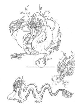 Chinese dragon line art by Miriele