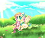 Fluttershy and the secret valleys by AquaGalaxy