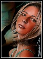 Buffy Angel Sketch Card by RandySiplon