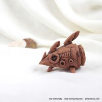 OOAK Ceramic terracotta spaceship - 2 by vavaleff