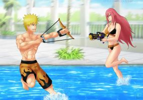 Commission: Naruto x Tayuya - Water fun by Amenoosa
