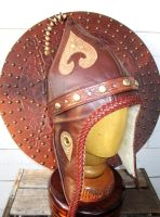 Pointy Mongol Leather Winter Viking Hat  OOAK by LeatherHead72