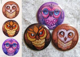 Owl Pins by TrollGirl