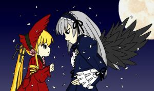 Shinku and Suigintou, Bittersweet Rivals by Hexidextrous