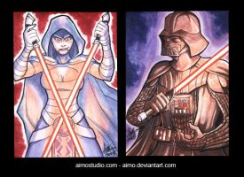 Asajj Ventress and Darth Vader by aimo