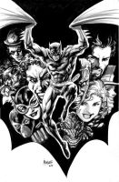 Batman under the cape ink wash by gammaknight
