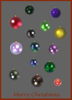 Colored Christmas Decorations - Stock by FractalBee