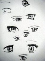 Practicing anime eyes by karmaparade