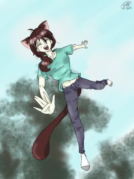 Jumping Neko by Physicskitty42