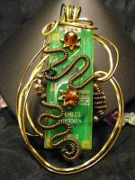 free form circuit and amber in bronze and brass by BacktoEarthCreations