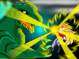 Pan SuperSayajin 3 vs Godzilla by mayozilla