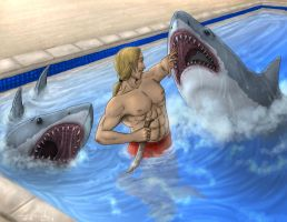 Shark attack_Commission by Destinyfall
