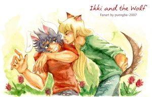 Ikki_and _the_wolf by puengba