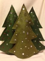 Felt Christmas Tree Wine Bottle Covers by LizMasters