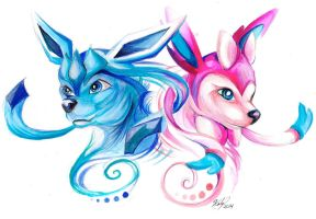 Sylveon and Glaceon by Lucky978