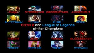 Dota2 and League of Legends similar Champions by zerons