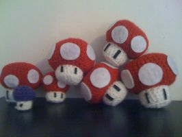 More Amigurumi Mario Mushrooms by lovechairmanmeow