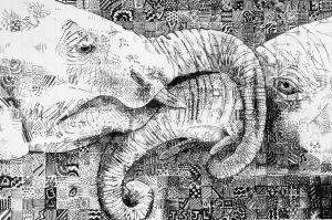 Pen and Ink Elephants by xDoglate