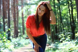 coral blouse and blue jeans by pathyelisia